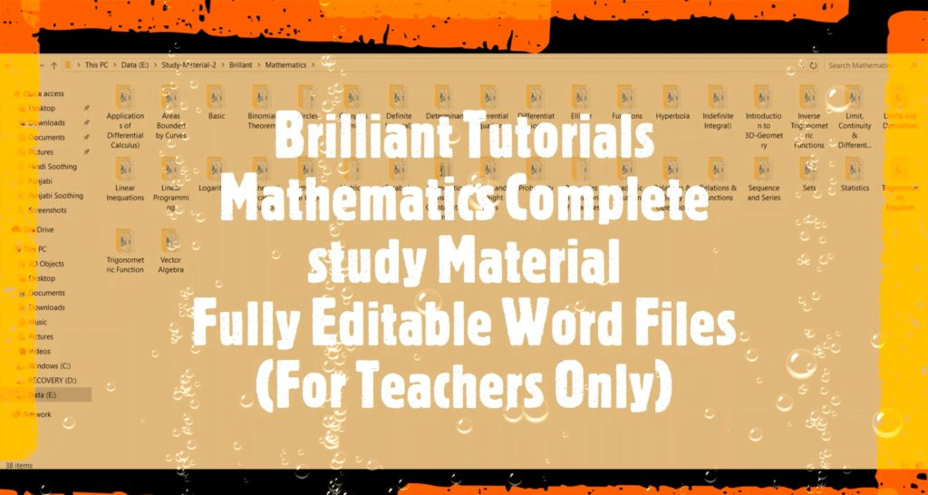 study material for mathematics word file for teachers